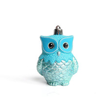 Blue Owl Ornament: Shatter Resistant Hand Painted plastic Owl Ornament Shades of Blue