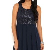 Short Sequin Chiffon Dress with Pleated Skirt