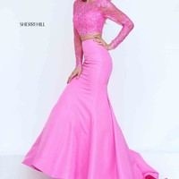 Sherri Hill Taffeta Pink Two Piece Dress 50491