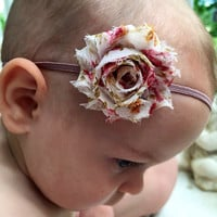 Baby headband, shabby chic baby headband, flower headband, floral headband, headband for girls, teen, infant headband