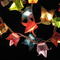 Origami patterned Tulips lantern string light by SnWeStore on Etsy