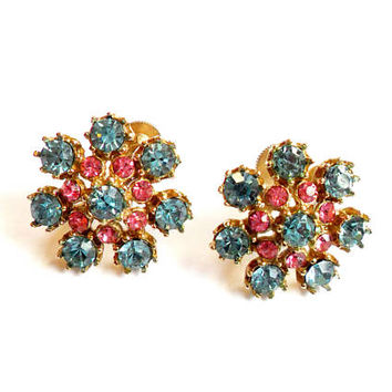 Vintage Coro Pink Blue Rhinestone Earrings - Gold Tone Screw Back - Flower Starburst - Baby Shower - Signed Marked Coro - Something Blue