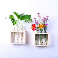 Hanging Flower Vase Bottle in Wood Stand Terrarium Home Party Wedding Decor