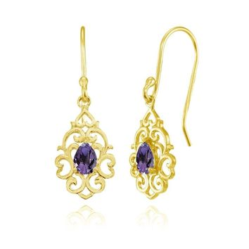 Filigree Heart African Amethyst Teardrop Dangle Earrings in Gold Plated Silver