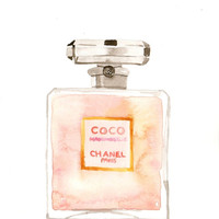 Chanel Coco Mademoiselle Parfum - Watercolor perfume bottle illustration