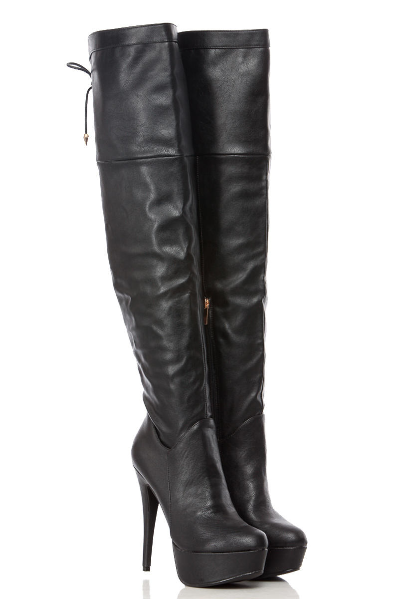 1eaba3ae6f Black Faux Leather Tie Over Thigh High from CICI HOT | boots and