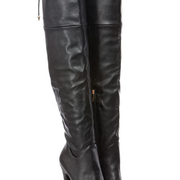 6fdcf1b25df Black Faux Leather Tie Over Thigh High Platform Boots