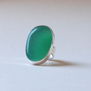 Green Chalcedony Gemstone Sterling Silver Adjustable Ring