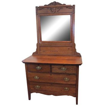 Pre-owned Victorian Tiger Oak Dresser with Mirror
