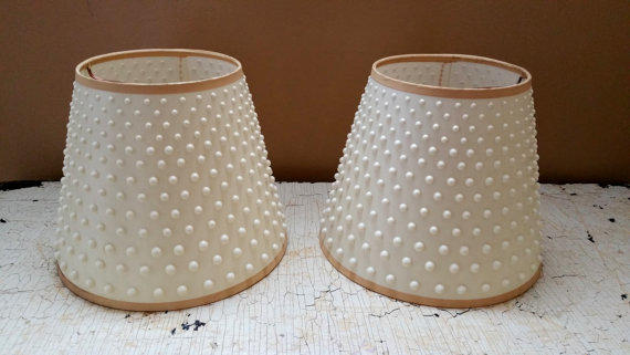 Pair Vintage White Plastic Hobnail Lamp From Gladstone At Home
