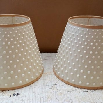 "Pair Vintage White Plastic Hobnail Lamp Shades 7"" High"
