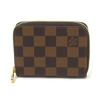 Auth Louis Vuitton Damier Ebene Zippy Coin Purse Coin Case Brown N63070 - y12905