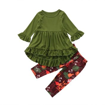 Toddler Girls Clothing Sets 2017 Autumn Winter Children Girls Clothes T-shirt+Floral Pants Christmas Outfits Kids Girls clothes