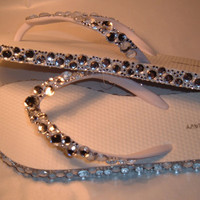 Rhinestone Bling Flip Flops Bridal Wedding by EVRhinestones
