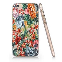 Tropical Flower Pattern Transparent Plastic Phone Case for Iphone 6