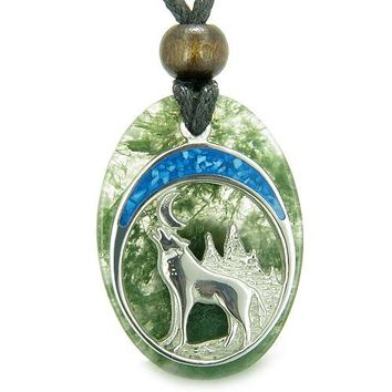 Howling Wolf Moon Amulet Good Luck Powers Green Moss Agate Gemstone Pendant Necklace