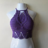 CROCHET HALTER TOP, Crochet highneck halter top, festival clothing, purple crochet halter top,  boho, festival top, beach cover  summer top,