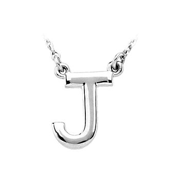Block initial Necklace in Sterling Silver, Letter J
