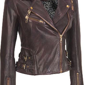 Black Rivet Chunky-Zip Leather Cycle Jacket w/ Side Buckles - Wilsons Leather