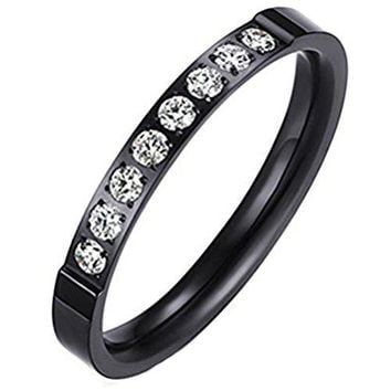 Womens Black Fashion Jewelry 3mm Stainless Steel Thin Wedding Ring CZ Zircon Engagement Promise Band