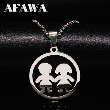 2018 Best Friend Necklaces & pendants Stainless Steel Jewelry Boy and Girl Statement Necklace For Women Men Friends Gift N3203