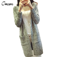 Outwear Cardigans Women  Spring Long Cardigan Coat Casual Gray Loose Knitted Sweater Chompas Mujer QL1317