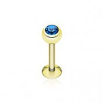 Gold Plated Gem Ball Steel Labret