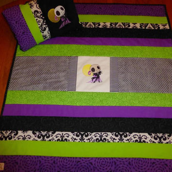 CUSTOM READY To  ShiP! Jack Skellington Baby Quilt Blanket & PeRSoNaLiZeD PILLOW for a NiGhTmaRe BaBy Nursery  Embroidered  Designs by Sugar