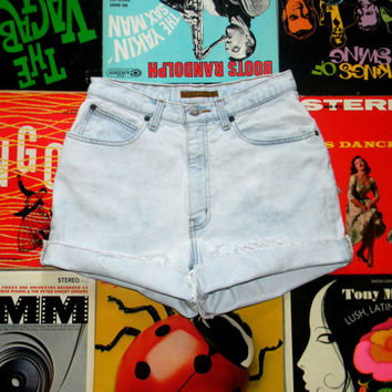 High Waisted Denim Shorts, Vintage 90s Ultra Light Blue and White Bleached ANNE KLEIN Jean Cut Offs - Frayed, Cuffed, Distressed Size 10 M