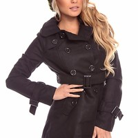 BLACK BUTTONED DOUBLE BREAST SELF-TIE MILITARY TRENCH COAT