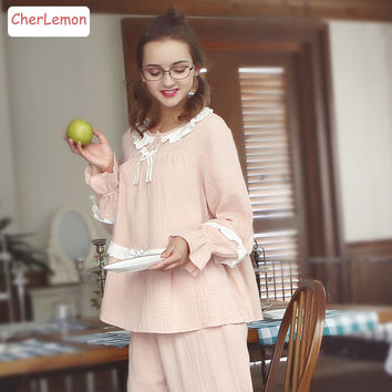 Spring Women Vintage Princess Pajamas Sleepwear Royal Ladies Lace Cotton Long Sleeve Nightdress Casual Female Home Pyjamas Set