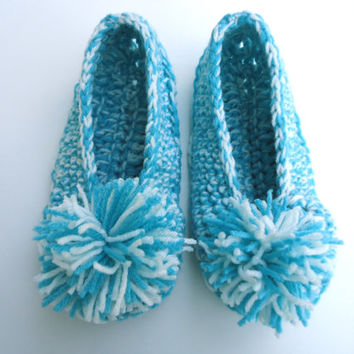 Turquoise and off white women's slippers with pom poms, crochet booties, house shoes, house slippers, valentine's day gift, ready to ship
