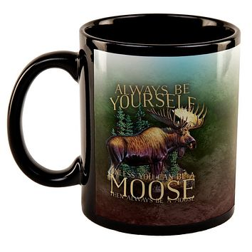 Always Be Yourself Unless Moose All Over Black Out Coffee Mug