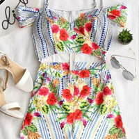 Floral Crossed Front Hollow Out Open Shoulder Romper