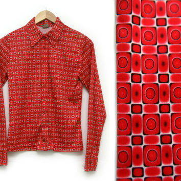 Vintage Shirt~Size Small~50s 60s 70s Mod Retro Geometric Circle Square Red White Black Button Up Collar Long Sleeve~ By MGR