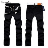 Men's jeans solid straight pants
