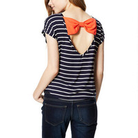 Chiffon Bow-Back Short-Sleeve Top