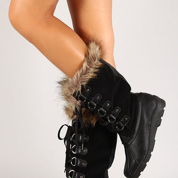 Faux Fur Round Toe Lace Up Mid Calf Boots