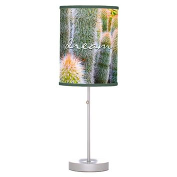 """Dream"" orange green fuzzy cactus photo table lamp"