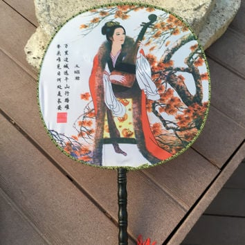 Feng Shui Hand Fan with Chinese Beauty Wang Zhao Jun Playing a Musical Instrument