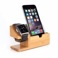 Bamboo Charger Charging Dock Station Holder Stand For Apple Watch iPhone