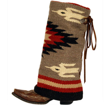 Womens Taupe, Cream, and Red Aztec Boot Rugs