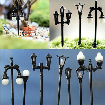 ac NOOW2 Retail mini street lamp fairy garden miniatures moss terrariums desktop bottle garden resin crafts decoration for home