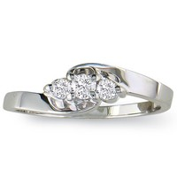 SuperJeweler 1/10ct Three-Stone Diamond Promise Ring in 10K White Gold
