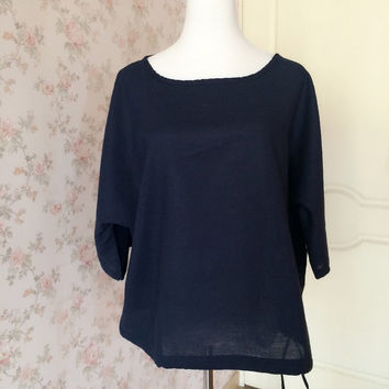 Women Plus Size Blouse. Navy Blue Designer Shirt. Sleeved Tunics. Plus Size Tunics. Linen Blouses. Linen Clothing. Women's Clothing