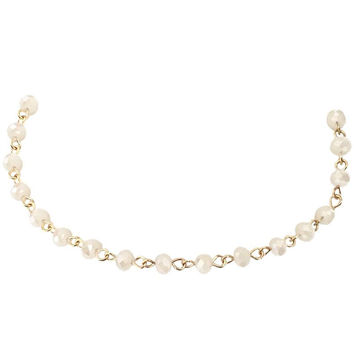 Heavenly Dream Crystal Bead Choker In Cream