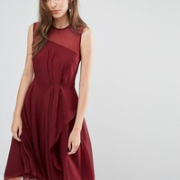 French Connection   French Connection Winter Ray Chiffon Drape Midi Dress at ASOS