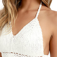 Improvise Ivory Crochet Halter Top
