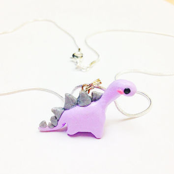 Purple Dinosaur Necklace, polymer clay charm necklace, kawaii dino necklace, little girls jewelry, Birthday gift, miniature animal necklace