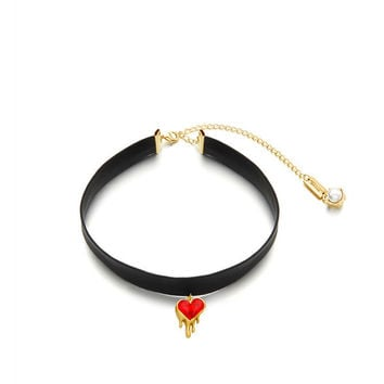 Gift Jewelry Shiny Stylish New Arrival Accessory Korean Red Heart Gemstone Chain Necklace [6056971457]